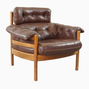 Leather and Teak Easy Chair, 1960s