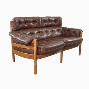 Canapé Vintage en Cuir Capitoné par Arne Norell pour Coja