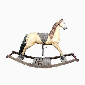 Cavallino a dondolo antico in legno