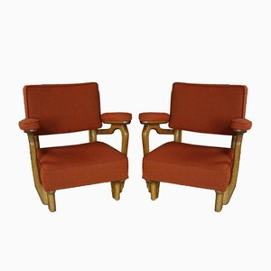 Armchairs in Solid Oak by Guillerme and Chambron for Votre Maison, 1950s, Set of 2