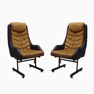 Mid-Century Italian Leather Armchairs with Casters, Set of 2