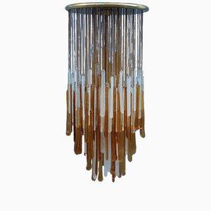 Lámpara colgante de vidrio de Mazzega, años 60