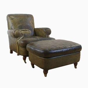 Club chair vintage in pelle verde con pouf e tavolino da fumo di Giuseppe Mazza per Baxter