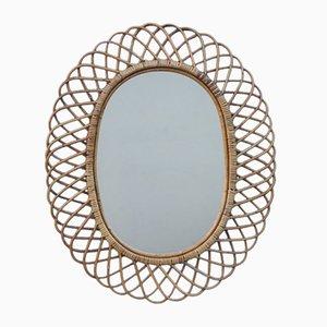 Mid-Century Spiegel mit Rahmen aus Bambus von Pierantonio Bonacina