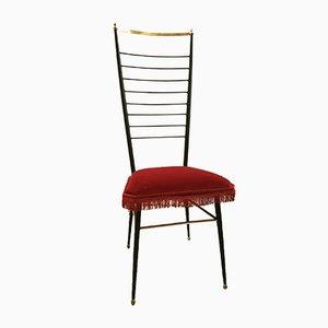 Großer Stuhl aus Schmiedeeisen & Messing, 1950er