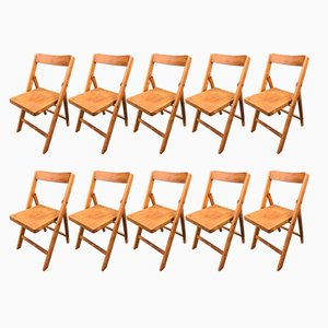 Mid-Century Folding Chairs in Beech, 1950s, Set of 10