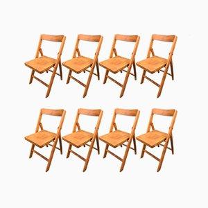 Chaises Pliables Mid-Century en Hêtre, 1940s, Set de 8