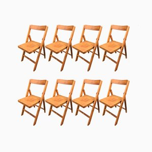 Mid-Century Folding Chairs in Beech, 1940s, Set of 8