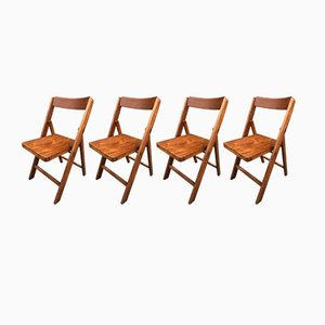 Chaises Pliables Mid-Century en Hêtre, 1940s, Set de 4