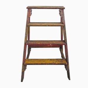 Escalera de archivo industrial de madera, años 50