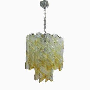 Lampadario in vetro di Murano color ambra di Mazzega, anni '60
