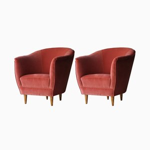 Italian Armchairs in Coral Velvet, 1950s, Set of 2