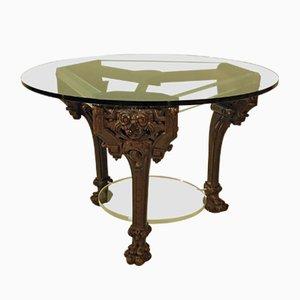 Tavolo vintage con base in legno intagliato