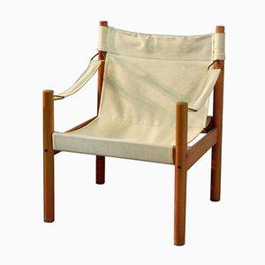 Skandinavische Leinen Safari Stuhl, 1960er