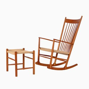 Vintage Rocking Chair & Stool by Hans J. Wegner for Fredericia