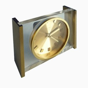 Brass & Plexiglass Table Clock from Kienzle, 1960s