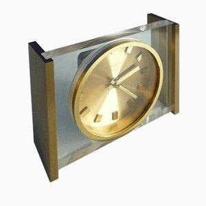Reloj de mesa de latón y plexiglás de Kienzle, años 60
