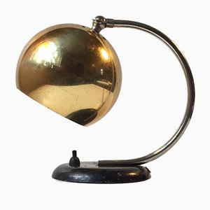 Danish Hybrid Table or Wall Lamp with Brass Globe from Lyfa, 1950s