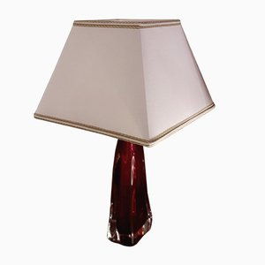 Rote Vintage Kristallglas Lampe