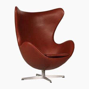 3316 Cognacfarbener Leder Egg Chair von Arne Jacobsen für Fritz Hansen, 1969