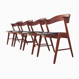Vintage Teak and Black Leatherette Dining Chairs by Kai Kristiansen for Schou Andersen, Set of 4