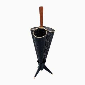 Portaombrelli in metallo nero perforato, anni '50