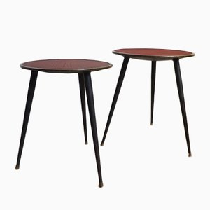 Black & Red Side Tables, 1960s, Set of 2