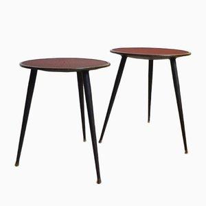 Tables d'Appoint Noires et Rouges, 1960s, Set de 2