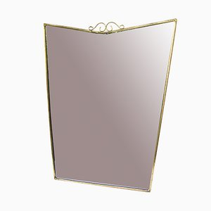 Mid-Century Italian Mirror with Brass Frame, 1950s