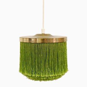 Lámpara colgante con flecos de seda verde de Hans-Agne Jakobsson, años 60