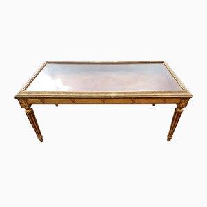 Tavolo con vetrina in legno dorato, XIX secolo