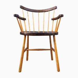 Danish Windsor Armchair with Club-Shaped Legs, 1950s