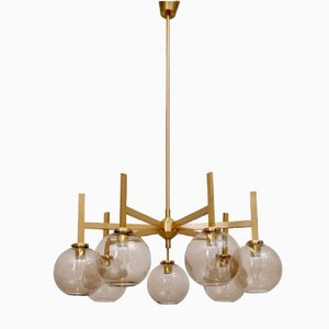 Large Brass Chandelier by Holger Johansson, 1960s
