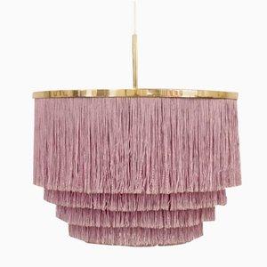 Lámpara colgante con flecos de seda morados de Hans-Agne Jakobsson para Hans-Agne Jakobsson AB, años 60