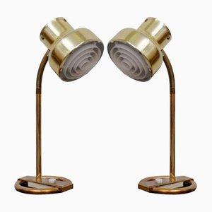 Lampade da tavolo Bumlingen in ottone di Anders Pehrson per Ateljé Lyktan, anni '60, set di 2