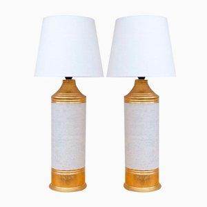 Lampade da tavolo smaltate color oro e bianco sporco di Bitossi, anni '60
