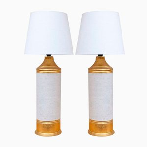 Lámparas de mesa esmaltadas en dorado y blanco roto de Bitossi, años 60