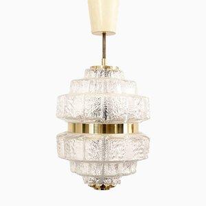 Lámpara colgantes de cristal y latón, años 60