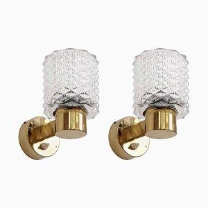 Lámparas de pared suecas de latón, años 60. Juego de 2