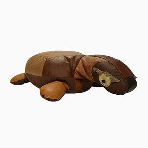 Cojín tortuga de retales de cuero, años 70