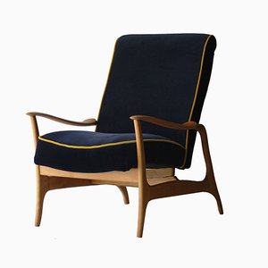Italian Armchairs in Blue Velvet, 1960s, Set of 2