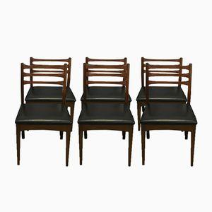Chaises Vintage en Teck et Similicuir, Set de 6