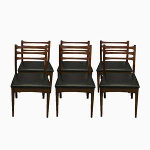 Vintage Teak Leatherette Chairs, Set of 6