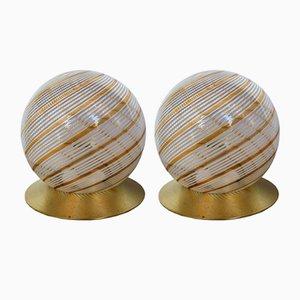 Lámparas colgantes italianas de cristal de Murano de Massimo & Lella Vignelli para Venini, años 70. Juego de 2