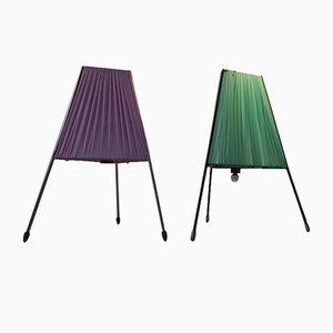 Lámparas de mesa trípodes italianas modernistas con detalles de latón, años 50. Juego de 2