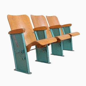 Banco de cine de tres asientos vintage