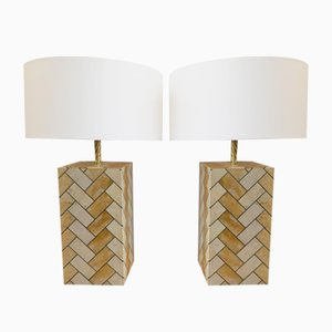 Tall Vintage Marble and Brass Table Lamps, Set of 2