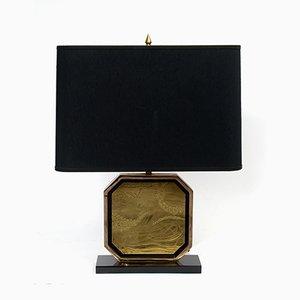Lámpara de mesa de latón grabado y plateado en oro de 23 quilates de George Matthias, años 70