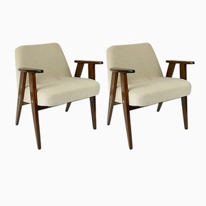 Vintage Beige Model 366 Armchairs by Józef Chierowski, Set of 2