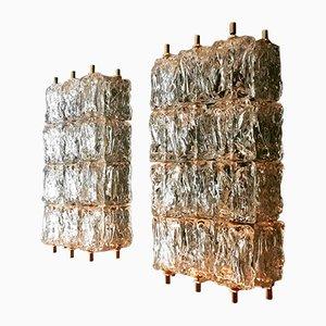 Große Kristallglas Wandlampen von Aureliano Toso für Vereinigte Werkstätten, 1950er, 2er Set